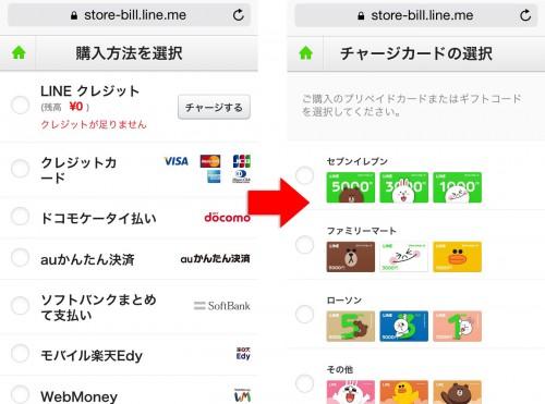 LINEの購入方法選択画面とチャージカードの選択